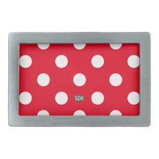 U-pick Background Color/ Classic White Polka Dots Rectangular Belt Buckle