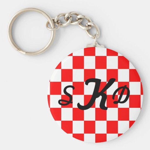 U-pick Background Color/ White Checkered Tiles Keychains