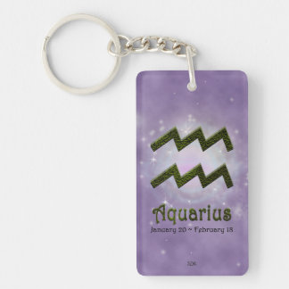 U Pick Color/ Aquarius Personalize Lost & Found Double-Sided Rectangular Acrylic Keychain
