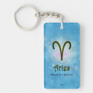 U Pick Color/ Aries Personalize Lost & Found Double-Sided Rectangular Acrylic Keychain