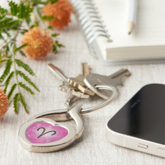 U Pick Color/ Aries Zodiac Sign Silver-Colored Twisted Heart Keychain