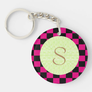 U-pick Color Black Checkered Tiles Double-Sided Round Acrylic Keychain