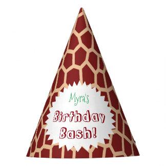 U pick Color/ Brown Giraffe Print in Mosaic Tile Party Hat
