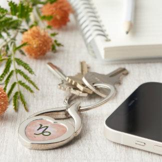 U Pick Color/ Capricorn Zodiac Sign Silver-Colored Twisted Heart Keychain