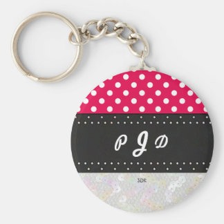 U-pick Color/ Classic White Polka Dots & Sequins Basic Round Button Keychain