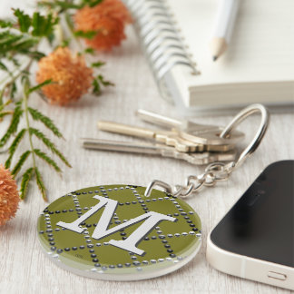 U pick Color/ Criss Crossing Chrome Metal St Double-Sided Round Acrylic Keychain