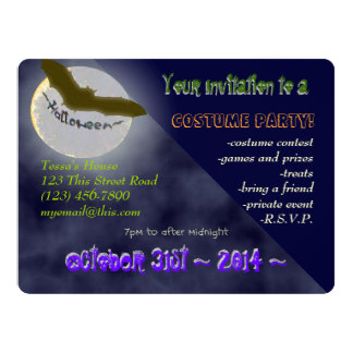 U Pick Color/Custom Halloween Party Invitation