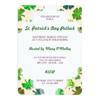 "U-pick Color/ Exotic Irish Shamrocks 4 Leaf Clover 5"" X 7"" Invitation Card"