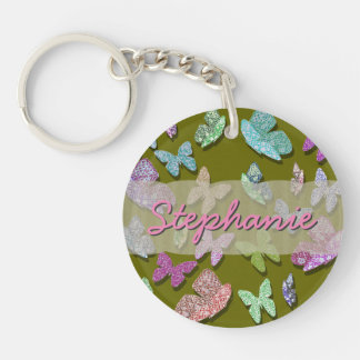 U pick Color/ Fluttering Textured Butterflies Double-Sided Round Acrylic Keychain