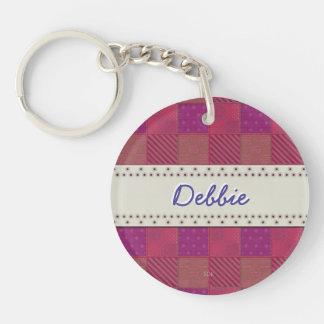 U Pick Color/ Garden Lattice Shimmery Velvet Quilt Double-Sided Round Acrylic Keychain