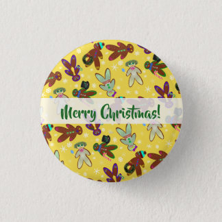U-pick Color/ Gingerbread People & Snowflakes 1 Inch Round Button