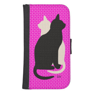 U Pick Color/Good Luck Black & White Kitty Catz Galaxy S4 Wallet Cases