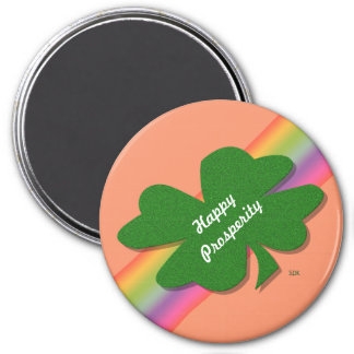 U-pick Color/ Green Good Luck Irish 4 Leaf Clover 3 Inch Round Magnet