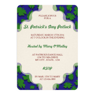 "U-pick Color/ Green Good Luck Irish 4 Leaf Clover 5"" X 7"" Invitation Card"