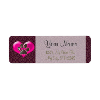 U-pick Color/Paws of Heart and Health Healing Return Address Label