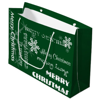 U Pick Color/ Personalized White Snowflakes w/Text Large Gift Bag