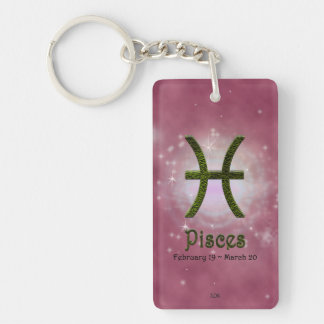 U Pick Color/ Pisces Personalize Lost & Found Double-Sided Rectangular Acrylic Keychain