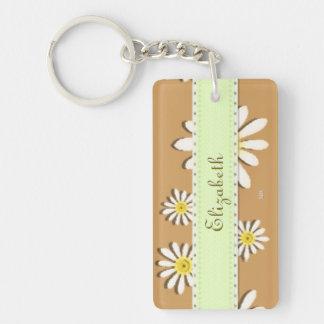 U-pick Color/ Whimsical Wildflower Daisy Sprinkles Double-Sided Rectangular Acrylic Keychain