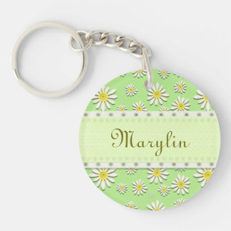 U-pick Color/ Whimsical Wildflower Daisy Sprinkles Double-Sided Round Acrylic Keychain