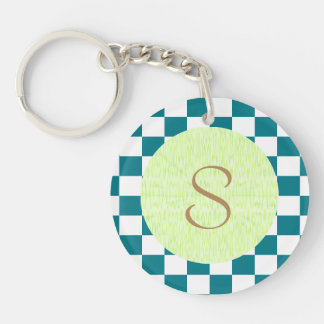 U-pick Color White Checkered Tiles Double-Sided Round Acrylic Keychain
