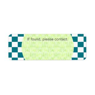 U-pick Color White Checkered Tiles Return Address Label