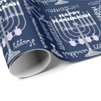 U Pick Color/ White Happy Hanukkah Symbols & Text Wrapping Paper