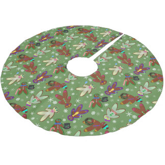 U-pick Colour/ Gingerbread People & Snowflakes Brushed Polyester Tree Skirt