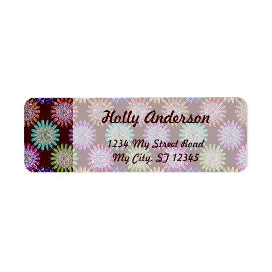U pick Colour/ Hand Blown Glass Crystal Flowers Return Address Label