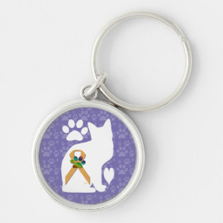U-pick the Color/Animal Cruelty Prevention Ribbon Silver-Colored Round Keychain