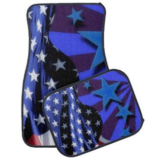 U.S.A. America Flag and Blue Stars Car Carpet