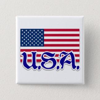 U.S.A. American Apparel and Memorabilia 2 Inch Square Button