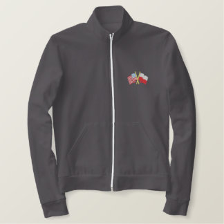 U S A and Poland Embroidered Jacket