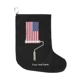 U.S.A. Flag Paint Roller Large Christmas Stocking