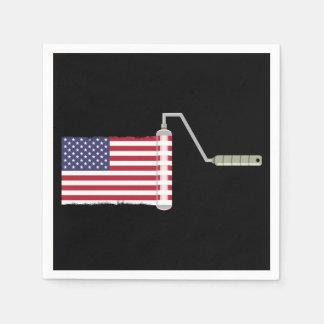 U.S.A. Flag Paint Roller Paper Napkin