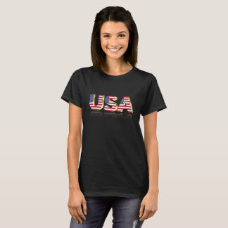 U S A in US Flag Lettering T-Shirt