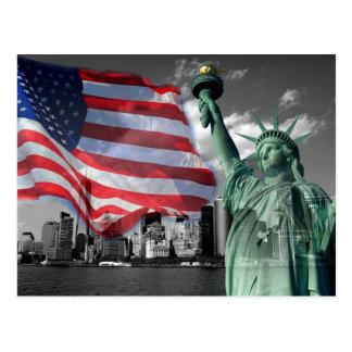 U.S.A.: Lady Liberty, American Flag, NYC Postcard