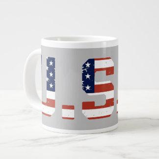 U.S.A. Vintage Style Initials Jumbo Mug