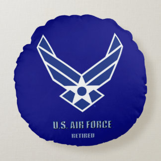 U.S. Air Force Retired Round Pillow
