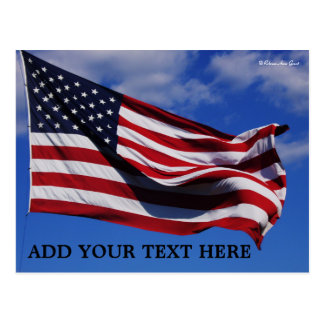 U.S. American Flag - Postcard - Add Your Own Text