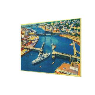 U.S. Battleship passing through Portland Canvas Print