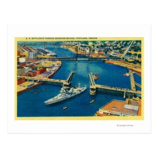U.S. Battleship passing through Portland Postcard