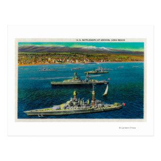 U.S. Battleships Anchored at Long Beach Postcard