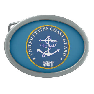 U.S. Coast Guard Veteran Buckle Oval Belt Buckle