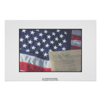 U.S. Constitution and Flag Poster