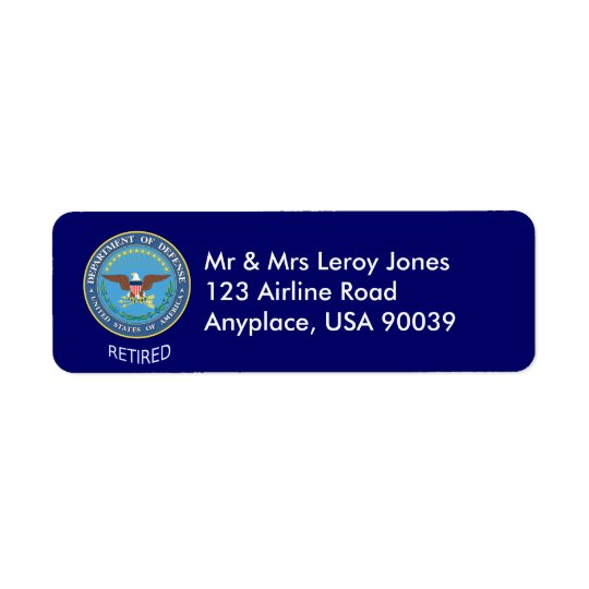 U.S. Defence Department Retired Label Return Address Label
