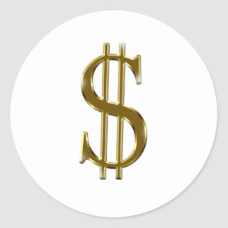 $ U.S.dollar sign gold Classic Round Sticker