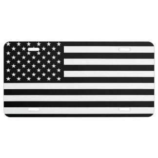 U.S. Flag: Black License Plate