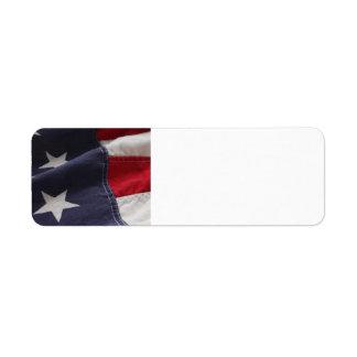 U.S. flag close up label Return Address Label