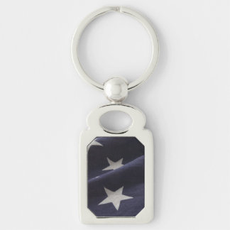 U.S. flag close up stars Silver-Colored Rectangle Keychain