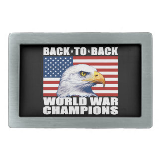 U.S. Flag & Eagle World War Champions Rectangular Belt Buckle